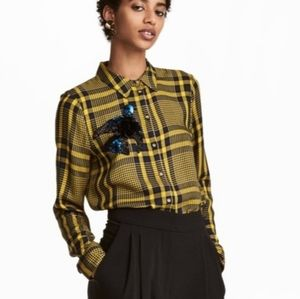 {H&M} Blue and Yellow Plaid Shirt with Sequins …